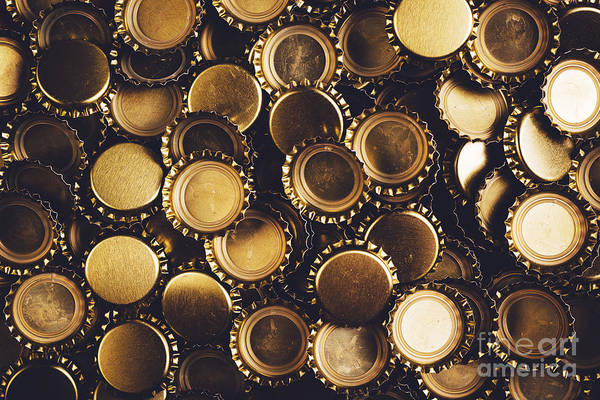 Wall Art - Photograph - Beer Bottle Caps Piled by Igorstevanovic