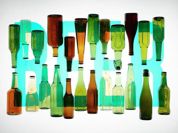 Beer Photograph - Beer Bottles Against The Word Beer by Adrian Burke
