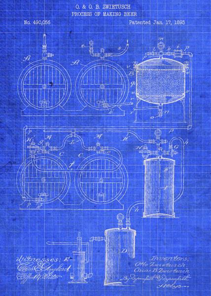 Beer Mixed Media - Beer Making Keg Brewing Vintage Patent Blueprint by Design Turnpike