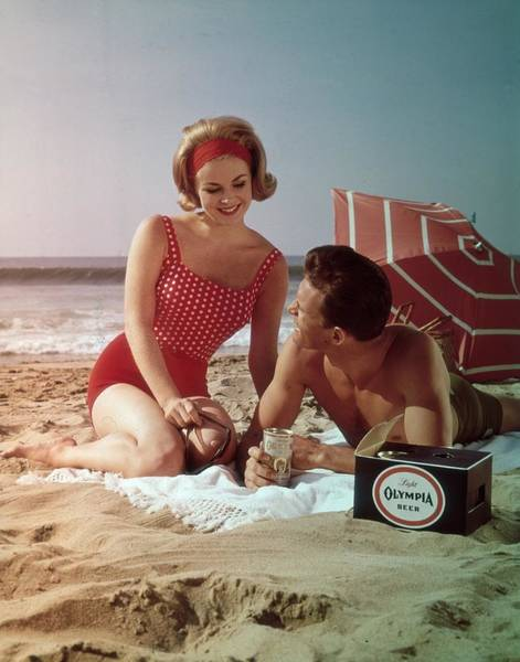 Alcohol Photograph - Beer On The Beach by Tom Kelley Archive