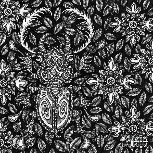 Drawing - Beetle Botanical Ink 4 by Amy E Fraser