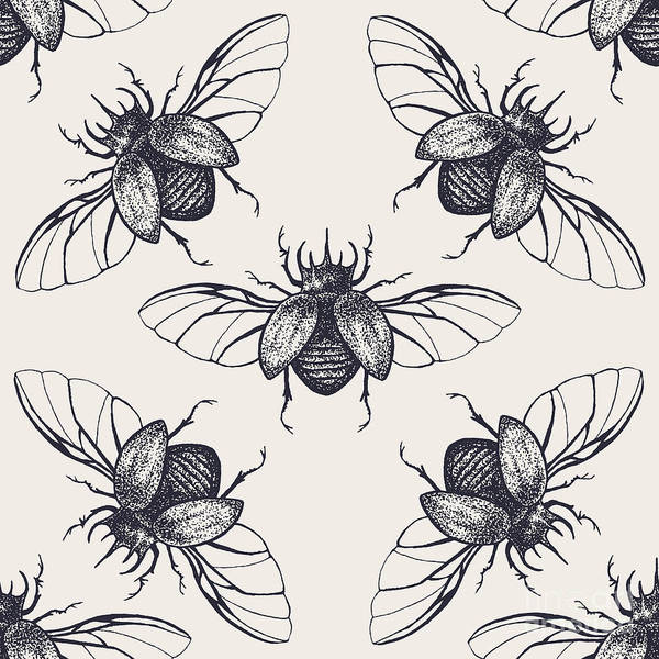 Stag Wall Art - Digital Art - Beetles Seamless Pattern. Vintage Hand by Anna Macabre