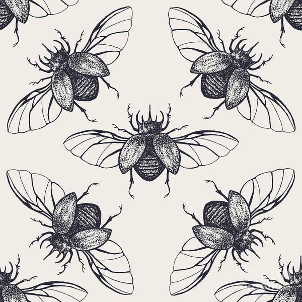 Wall Art - Digital Art - Beetles Seamless Pattern. Vintage Hand by Anna Macabre