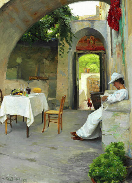 Wall Art - Painting - Before Lunch - Reading Woman In A Shady Loggia by Peter Ilsted