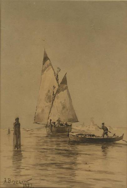 Wall Art - Painting - Beggrov, Alexander  1841-1914  Boats In The Venetian Lagoon by Celestial Images