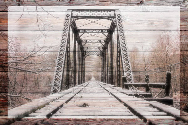 Photograph - Beginning Of Winter Trestle In The Snow Wood Border by Debra and Dave Vanderlaan