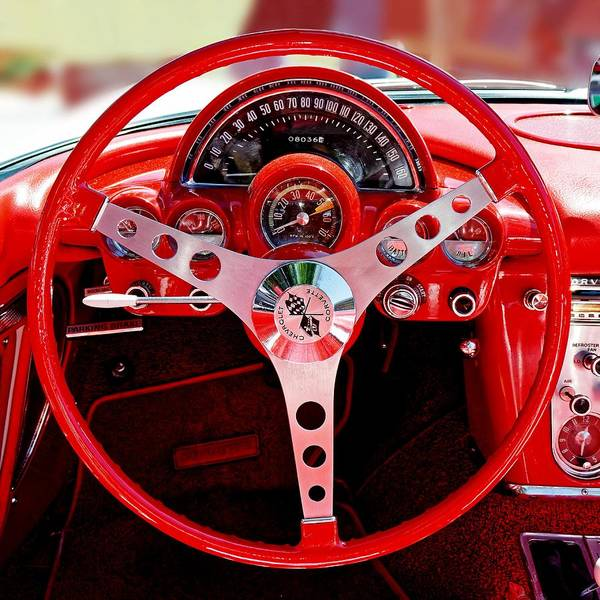 Photograph - Behind The Wheel Of A 1960 Corvette by KJ Swan