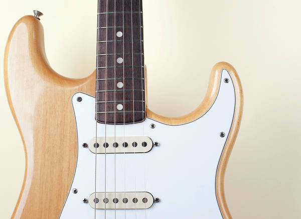 Rock Music Photograph - Beige Wood Textured Electric Guitar by Neyya