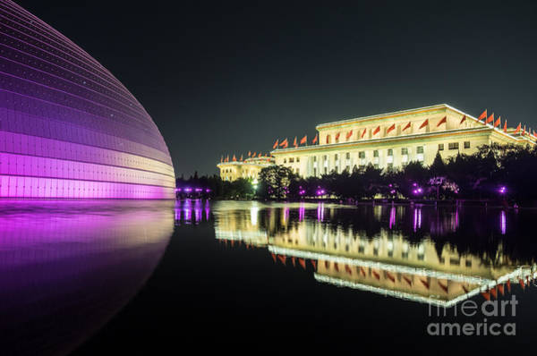 Photograph - Beijing Art Center At Night by Iryna Liveoak