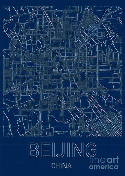 Digital Art - Beijing Blueprint City Map by Helge