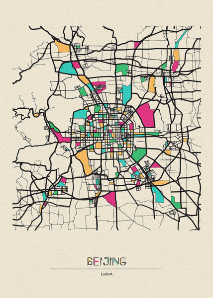Drawing - Beijing, China City Map by Inspirowl Design