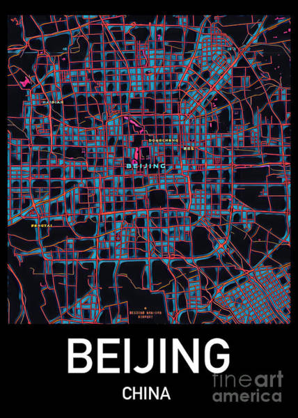 Photograph - Beijing City Map by Helge