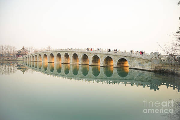 Wall Art - Photograph - Beijing The 17-arch Bridge In Summer by Ana8pana