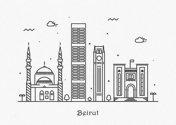Landmark Center Drawing - Beirut Cityscape Travel Poster by Inspirowl Design