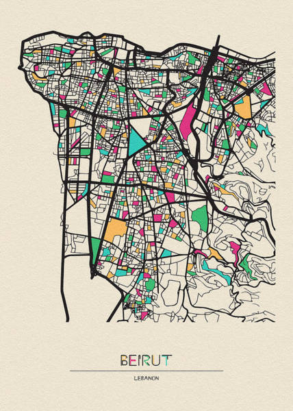 Digital Art - Beirut, Lebanon City Map by Inspirowl Design