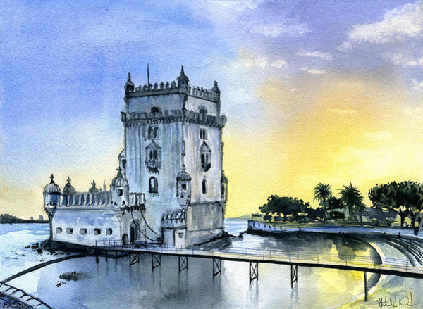 Painting - Belem Tower In Lisbon, Portugal by Dora Hathazi Mendes
