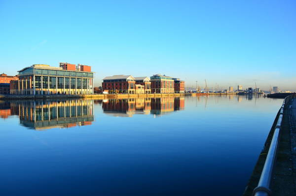 County Antrim Wall Art - Photograph - Belfast Lough Buildings Early Morning by David Dawson Image