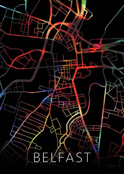 Ireland Mixed Media - Belfast Northern Ireland City Street Map Watercolor Dark Mode by Design Turnpike
