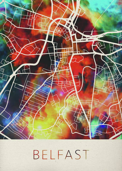 Ireland Mixed Media - Belfast Northern Ireland Watercolor City Street Map by Design Turnpike
