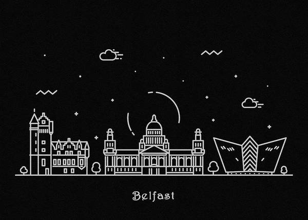Wall Art - Drawing - Belfast Skyline Travel Poster by Inspirowl Design