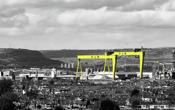 George Best Wall Art - Photograph - Belfast Titanic Cranes by Andy Morrow