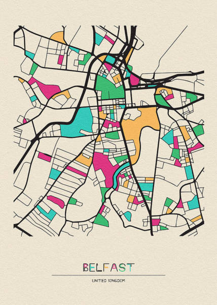 Wall Art - Drawing - Belfast, United Kingdom City Map by Inspirowl Design