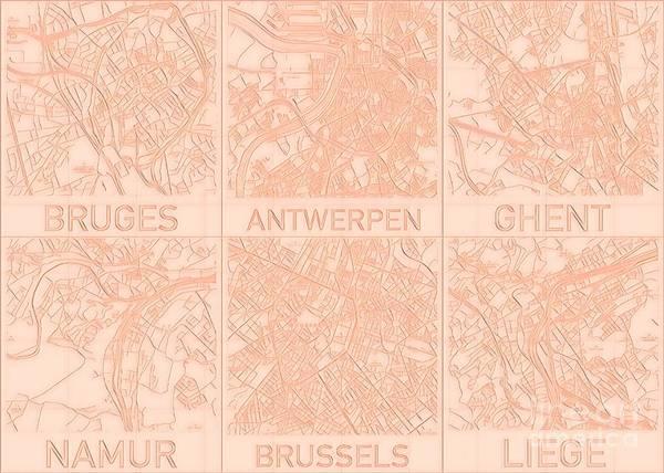 Digital Art - Belgium Blueprint Cities Map Alt by Helge