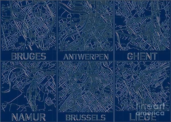 Digital Art - Belgium Blueprint Cities Map by Helge