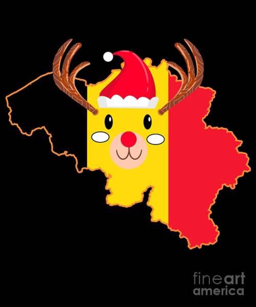 Ugly Digital Art - Belgium Christmas Hat Antler Red Nose Reindeer by TeeQueen2603