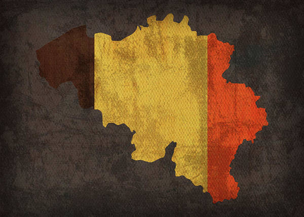 Belgium Mixed Media - Belgium Country Flag Map by Design Turnpike