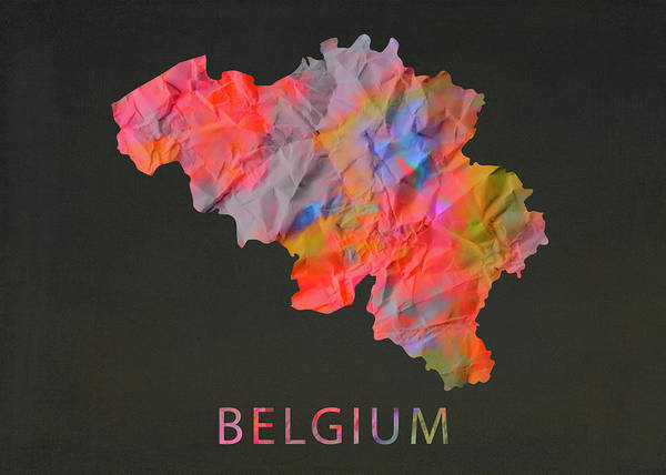 Belgium Mixed Media - Belgium Tie Dye Country Map by Design Turnpike