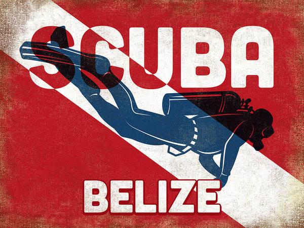 Belize Digital Art - Belize Scuba Diver - Blue Retro by Flo Karp
