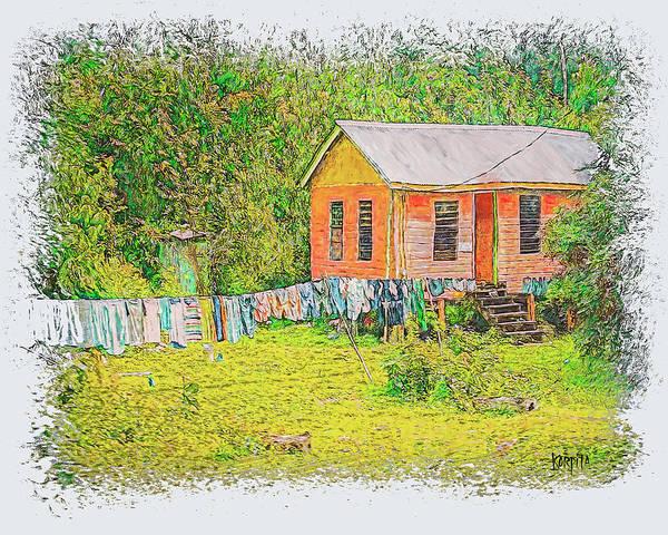 Wall Art - Digital Art - Belize Washday by Rebecca Korpita