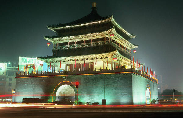 Xi Photograph - Bell Tower At Night, Xian, China by Greg  Elms