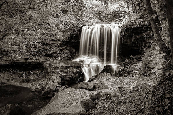 Wall Art - Photograph - Bella Vista Arkansas Tanyard Falls - Sepia Edition by Gregory Ballos