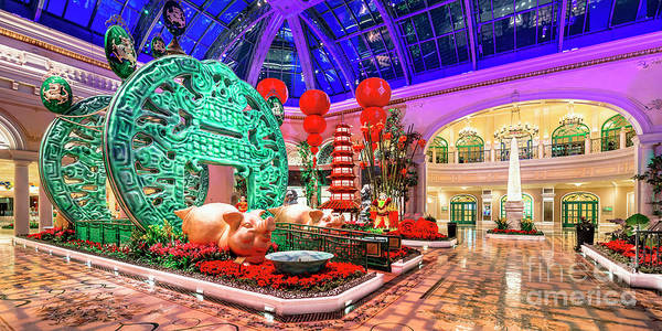 Wall Art - Photograph - Bellagio Conservatory Chinese New Year Of The Pig Entrance Ultra Wide Side Shot 2 To 1 2019 by Aloha Art
