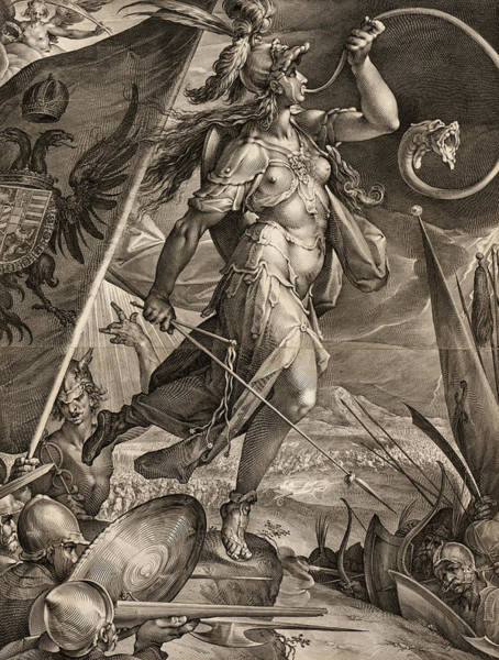 Wall Art - Painting - Bellona Leading The Armies Of The Emperor Against The Turks, 1600 by Jan Muller