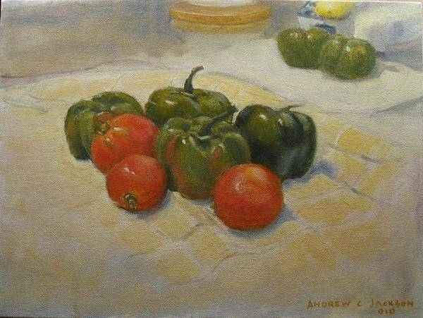 Andrew Jackson Wall Art - Painting - Bells And Tomatoes by Andrew Jackson