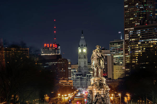 Wall Art - Photograph - Ben Franklin Parkway - All Lit Up by Bill Cannon