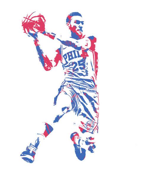Wall Art - Mixed Media - Ben Simmons Philadelphia 76ers Pixel Art 150 by Joe Hamilton