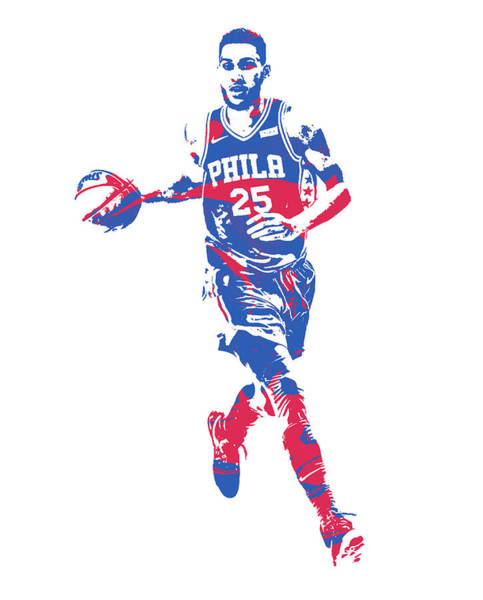 Wall Art - Mixed Media - Ben Simmons Philadelphia 76ers Pixel Art 52 by Joe Hamilton