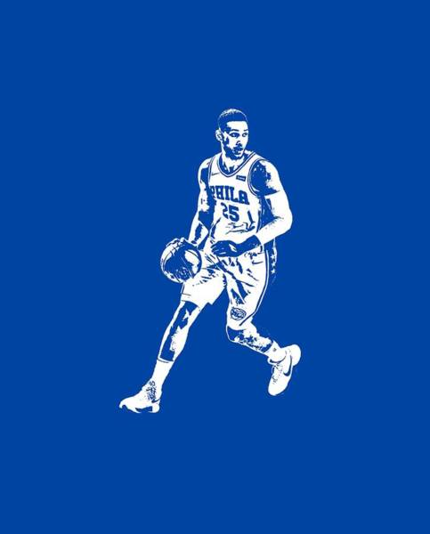 Wall Art - Mixed Media - Ben Simmons Philadelphia 76ers T Shirt Apparel Pixel Art 1 by Joe Hamilton