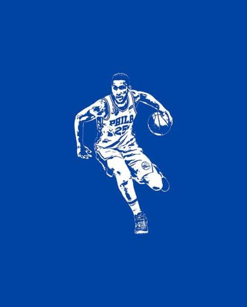 Wall Art - Mixed Media - Ben Simmons Philadelphia 76ers T Shirt Apparel Pixel Art 2 by Joe Hamilton