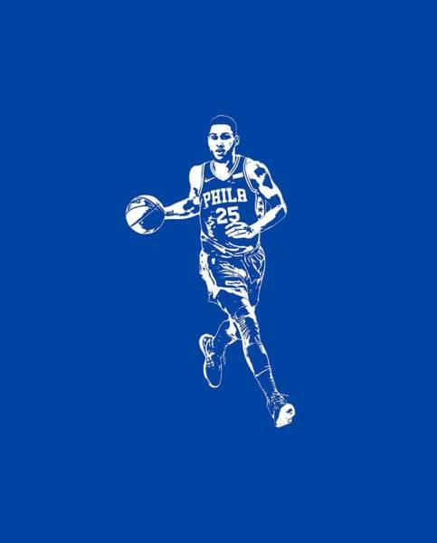 Wall Art - Mixed Media - Ben Simmons Philadelphia 76ers T Shirt Apparel Pixel Art 3 by Joe Hamilton