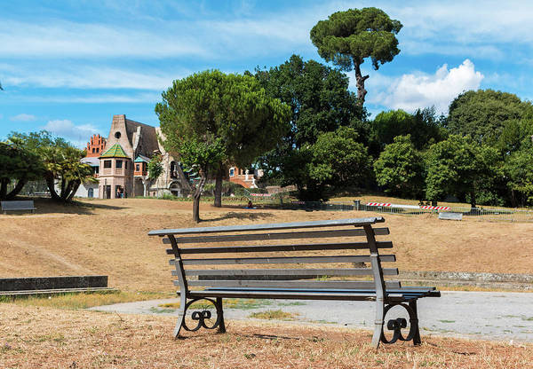 Park Bench Digital Art - Bench In Front Casina Of Civette In Villa Torlonia by ENZO Art in photography