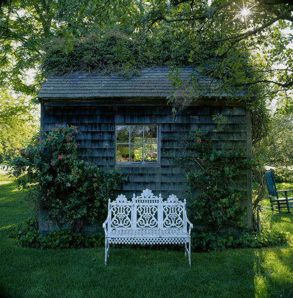 Rocking Chair Wall Art - Photograph - Bench Infont Of Cottage, East Hampton by Richard Felber