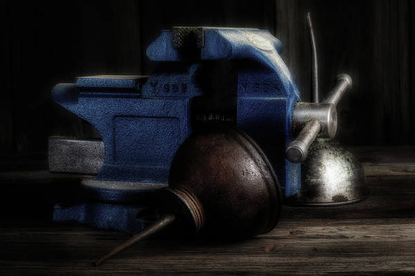 Wall Art - Photograph - Bench Vise With Oilers by Tom Mc Nemar