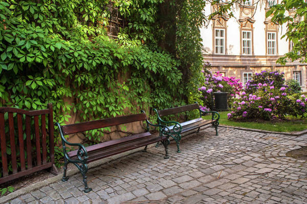 Photograph - Benches At Entrance To Palace Gardens Under Prague Castle by Jenny Rainbow