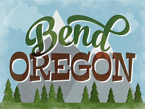 Wall Art - Digital Art - Bend Oregon Retro Mountains by Flo Karp