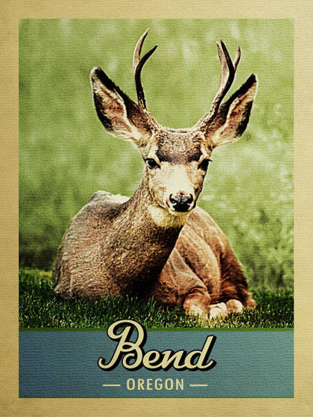 Oregon Wildlife Wall Art - Digital Art - Bend Oregon Vintage Deer by Flo Karp